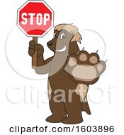 Clipart Of A Wolverine School Mascot Character Holding A Stop Sign Royalty Free Vector Illustration