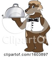 Clipart Of A Wolverine School Mascot Character Serving A Platter Royalty Free Vector Illustration