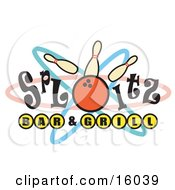 Bowling Ball Hitting Pins On A Sign