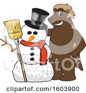 Clipart Of A Wolverine School Mascot Character With A Christmas Snowman Royalty Free Vector Illustration