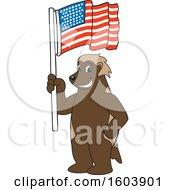 Clipart Of A Wolverine School Mascot Character Holding An American Flag Royalty Free Vector Illustration