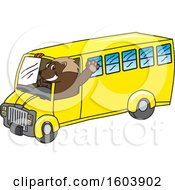 Clipart Of A Wolverine School Mascot Character Driving A School Bus Royalty Free Vector Illustration