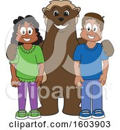 Clipart Of A Wolverine School Mascot Character With Students Royalty Free Vector Illustration