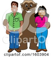 Clipart Of A Wolverine School Mascot Character With Parents Royalty Free Vector Illustration