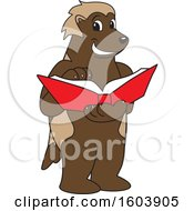 Clipart Of A Wolverine School Mascot Character Reading A Book Royalty Free Vector Illustration
