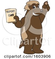 Clipart Of A Wolverine School Mascot Character Holding A Report Card Royalty Free Vector Illustration by Toons4Biz