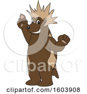 Clipart Of A Wolverine School Mascot Character With A Mohawk Royalty Free Vector Illustration