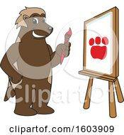 Clipart Of A Wolverine School Mascot Character Painting Royalty Free Vector Illustration