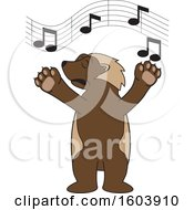 Clipart Of A Wolverine School Mascot Character Singing Royalty Free Vector Illustration