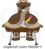 Clipart Of A Wolverine School Mascot Character Writing At A Desk Royalty Free Vector Illustration
