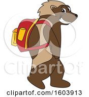 Wolverine School Mascot Character Wearing a Backpack