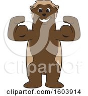 Clipart Of A Wolverine School Mascot Character Flexing His Muscles Royalty Free Vector Illustration