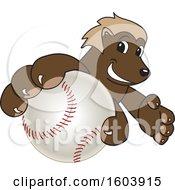Wolverine School Mascot Character Grabbing a Baseball