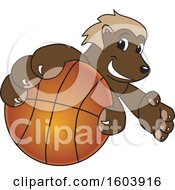 Clipart Of A Wolverine School Mascot Character Grabbing A Basketball Royalty Free Vector Illustration