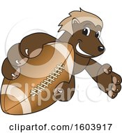 Clipart Of A Wolverine School Mascot Character Grabbing A Football Royalty Free Vector Illustration