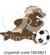 Wolverine School Mascot Character Playing Soccer