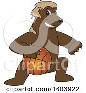 Clipart Of A Wolverine School Mascot Character Dribbling A Basketball Royalty Free Vector Illustration