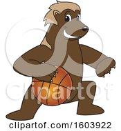 Wolverine School Mascot Character Dribbling a Basketball