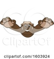 Clipart Of A Wolverine School Mascot Character Pouncing Royalty Free Vector Illustration