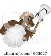 Clipart Of A Wolverine School Mascot Character Holding A Lacrosse Stick And Ball Royalty Free Vector Illustration