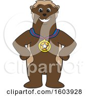Clipart Of A Wolverine School Mascot Character Wearing A Sports Medal Royalty Free Vector Illustration
