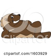 Clipart Of A Wolverine School Mascot Character Relaxing Royalty Free Vector Illustration by Toons4Biz