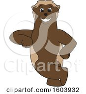 Clipart Of A Wolverine School Mascot Character Leaning Royalty Free Vector Illustration