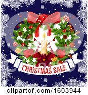 Clipart Of A Christmas Wreath With A Sale Banner Royalty Free Vector Illustration