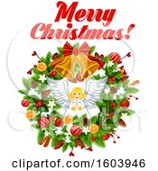 Clipart Of A Merry Christmas Greeting With An Angel And Wreath Royalty Free Vector Illustration