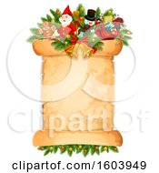 Clipart Of A Christmas Scroll Royalty Free Vector Illustration by Vector Tradition SM