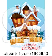 Clipart Of A Merry Christmas Greeting And House In The Snow Royalty Free Vector Illustration
