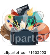 Clipart Of A Backpack And School Supplies Royalty Free Vector Illustration by Vector Tradition SM
