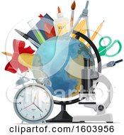 Clipart Of A Desk Globe And School Supplies Royalty Free Vector Illustration
