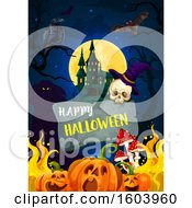 Clipart Of A Happy Halloween Greeting And Background Royalty Free Vector Illustration