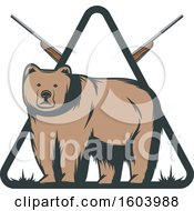 Clipart Of A Bear And Hunting Rifle Diamond Design Royalty Free Vector Illustration
