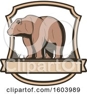 Clipart Of A Bear And Shield Design Royalty Free Vector Illustration by Vector Tradition SM