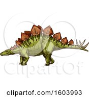 Clipart Of A Sketched Stegosaur Dinosaur Royalty Free Vector Illustration