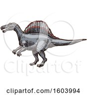Clipart Of A Sketched Dinosaur Royalty Free Vector Illustration by Vector Tradition SM