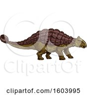 Clipart Of A Sketched Ankylosaur Dinosaur Royalty Free Vector Illustration by Vector Tradition SM