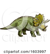 Clipart Of A Sketched Triceratops Dinosaur Royalty Free Vector Illustration by Vector Tradition SM