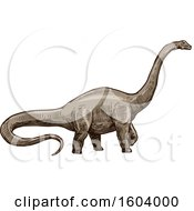 Clipart Of A Sketched Apatosaurus Dinosaur Royalty Free Vector Illustration by Vector Tradition SM