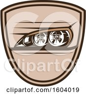 Clipart Of A Brown Automotive Shield With Headlights Royalty Free Vector Illustration