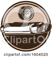 Clipart Of A Brown Automotive Shield With A Rim And Exhaust Royalty Free Vector Illustration