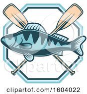 Clipart Of A Fishing Design With A Fish And Paddles Royalty Free Vector Illustration