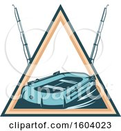 Clipart Of A Fishing Design With A Raft And Poles Royalty Free Vector Illustration