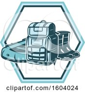 Clipart Of A Fishing Design With A Raft Backpack And Boots Royalty Free Vector Illustration