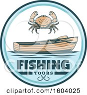 Fishing Design With A Crab And Boat