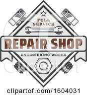 Clipart Of A Repair Shop Design With Tools Royalty Free Vector Illustration by Vector Tradition SM