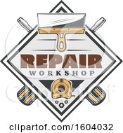 Clipart Of A Repair Workshop Design With Tools Royalty Free Vector Illustration by Vector Tradition SM