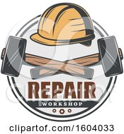 Clipart Of A Repair Workshop Design With A Helmet And Rubber Mallets Royalty Free Vector Illustration by Vector Tradition SM